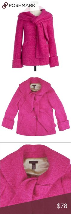 "JCREW Collection Hot Pink Boucle Scarf Jacket Coat Absolutely excellent condition! This hot pink Boucle scarf coat from JCREW Collection features button closures, front pockets and a built in scarf at the neckline. Fully lined. Made of a wool blend. Measures: bust: 36"", total length: 26"", sleeves: 24"" J. Crew Jackets & Coats"