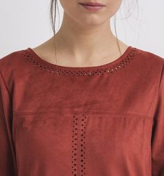 Robe en peau suédine Femme rouge - Promod