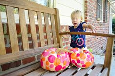 Another Hands On Pumpkin Project | Young House Love. Tissue paper circles + mod podge!