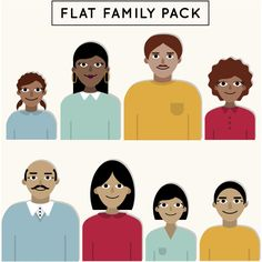 Flat Happy Family Pack Vector Background