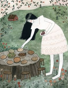 Eating outdoors is a new simple pleasure of mine.    (From Fairytale Food by YELENA BRYKSENKOVA -look inspired by the illustrations of Theodor Hosemann in the 1852 Icelandic edition of the fairytale, mjallhvít.)