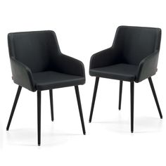 Set of 2 Tryon PU Leather Dining Armchairs, Black - Dining Chairs - Dining & Kitchen - Furniture