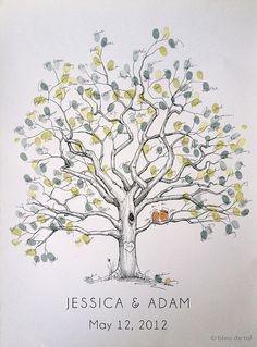 Hochzeit Gast Buch Alternative Fingerabdruck Baum L von bleudetoi