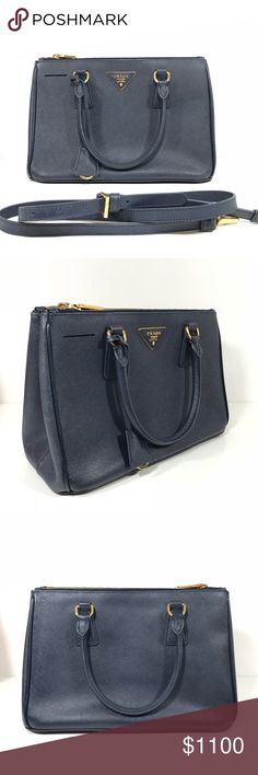 Prada double zip lux tote small navy Dark navy color. Small size. Has tiny wear, nothing noticeable. Prada Bags Shoulder Bags