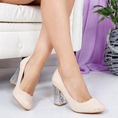 Pantofi Luvima bej cu toc gros Office Outfits, Pumps, Heels, Dresses For Work, Korean, Beautiful, Fashion, Choux Pastry, Moda