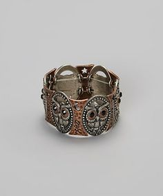 Love this Copper & Silver Owl Stretch Ring on #zulily! #zulilyfinds