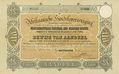 Bewijs van aandeel in de Afrikaansche Handels-Vereeniging van 5000 gulden, uitgegeven op 1 januari 1878. Als 'maatschappelijk kapitaal'  is het bedrag van zes miljoen gulden genoemd.