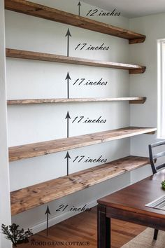 Best DIY Projects: DIY Dining Room Open Shelving by The Wood Grain Cottage. Best DIY Projects: DIY Dining Room Open Shelving by The Wood Grain Cottage. Diy Casa, Floating Shelves Diy, Rustic Shelves, Floating Bookshelves, Wood Shelf, Reclaimed Wood Shelves, Floating Wall, Wood For Shelves, Glass Shelves