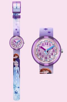 With sparkling gemstones on the digital printed dial, DISNEY FROZEN 2 (ZFLNP031) makes learning to tell the time a fun adventure, and the blue and purple printed textile strap is machine washable at 40°C. Featuring two of its most memorable characters - Elsa and Anna - this Frozen watch will take kids back to the first time that they watched their favourite animated saga. This sturdy Swiss-made Disney watch is a great kids' gift idea, and it's also shock and water resistant. Frozen Watch, Fun Adventure, Disney Frozen 2, Telling Time, Amazing Adventures, Textile Prints, Saga, Purple, Blue