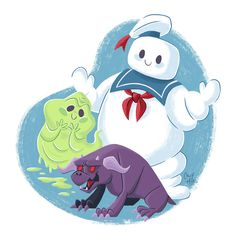 How adorable is this cutesie #Ghostbusters artwork by Caley Hicks!?