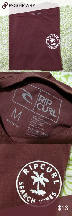 New without tag, Rip Curl Cotton Tshirt Washed, never worn t-shirt by Rip Curl. Rustic red in color. Rip Curl Shirts Tees - Short Sleeve