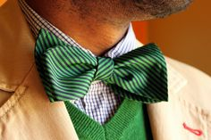 green, navy, and bow tie