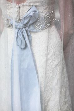 Handmade sparkle ribbon for dress, made by the bride.