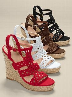 Woven espadrille wedge sandal – victoriassecret – гончар Татьяна владимировна – Join in the world of pin Crochet Sandals, Crochet Shoes, Crochet Slippers, Make Your Own Shoes, Wedge Sandals, Espadrille Wedge, I Love My Shoes, Spring Boots, Knit Shoes