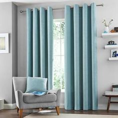 Vermont Duck-Egg Lined Eyelet Curtains