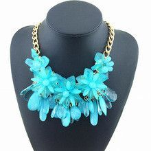 Virtual Store USA Exquisite crystal flowers choker collar chunky necklace