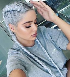 colored hair.. love the braids, makeup and color!