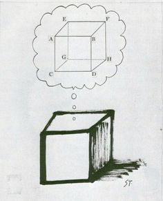 Drawing by Saul Steinberg: Cube's Dream II (1960)