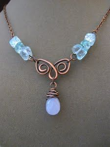 Wire Jewelry Little Bit Crafting: made from crackle glass, copper wire, and a lavender chalcedony drop. Bijoux Wire Wrap, Wire Wrapped Necklace, Bijoux Diy, Jewelry Crafts, Jewelry Art, Beaded Jewelry, Jewelry Ideas, Jewellery Box, Jewellery Display