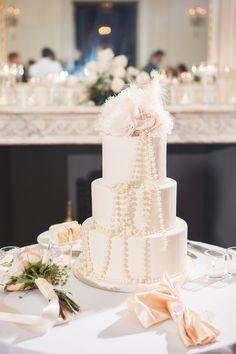 Vintage Wedding cake by sin bakery in Providence, RI.  Blush, Gold, Harmeson Wedding, Newport RI. Kate Barnes Photography