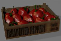 Red Peppers in a Wooden Crate - 3D Model - ShareCG