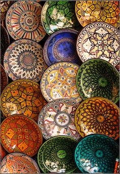 Pattern inspiration.  Moroccan painted plates | ©J Malley-Smith