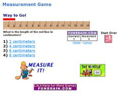 """In """"Measure It! Easy Centimeters"""" students help the woodchuck chop the wood by measuring lengths for her in this short math interactive. 2.MD.A.1"""