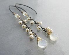 Moonstone Earrings Oxidized Sterling Silver by TheGemPoetJewelry