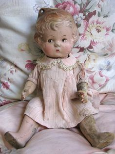 Vintage doll, Beautiful Loved old doll in cute pink dress