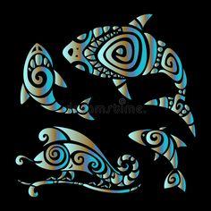 Lizards. Polynesian tattoo style. Shark, Fish and Chameleon. Tribal pattern set Polynesian tattoo style. Vector illustration royalty free illustration Polynesian Tattoo Sleeve, Polynesian Tattoo Designs, Half Sleeve Tattoo Template, Border Tattoo, Wrist Band Tattoo, Ukulele Art, Tribal Sleeve, Tattoo Stencils, Vector Clipart