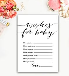Baby Shower Wishes for Baby – Black and White – Instant Download Printable