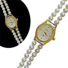 Classique Designer Silver Alloy With Gold Plated Pearl Watch