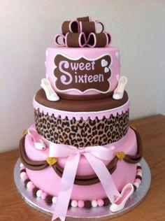 Leuk idee voor een sweet sixteen taart.