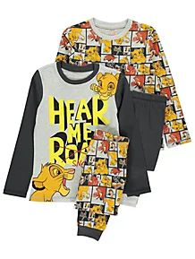 George Mens Nightwear Disney The Lion King Black /& Grey Pride Mini Me Pyjamas L