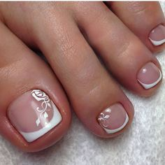 No color bust some designs on a pretty French pedicure - would be a nice manicure too love these nails
