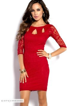 Keyhole Neckline Red Lace Dress with Sleeves #PinYourWish and @shopsexydresses