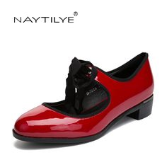 3a0f33115e0 Women s Flats shoes Fashion Spring Autumn Round Toe PU leather Red Black  color 36 41 Female shoes Free shipping NAYTILYE-in Women s Flats from Shoes  on ...