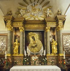 The altar inside the chapel above the Gate of Dawn in Vilnius, Lithuania.