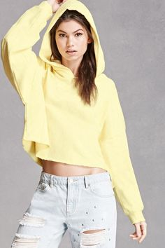 French Terry Cropped Hoodie from Forever 21. Shop more products from Forever 21 on Wanelo.
