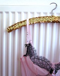 GOLD SEQUIN HANGER vintage wood and metal on Etsy, $10.00