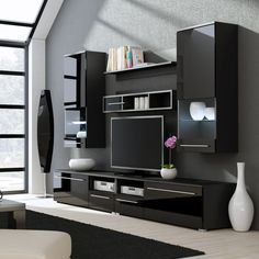 Jorah entertainment center for tvs up to 75 products home improvement winsome color black gloss remarkable Tv Unit Decor, Tv Wall Decor, Wall Tv, Tv Cabinet Design, Tv Wall Design, Entertainment Center, Tv Wanddekor, Tv Unit Furniture Design, Modern Tv Wall Units