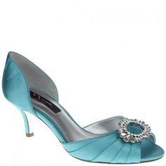 Nina Crystah Tiffany Blue Kitten Heel Shoes for Prom