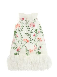 MISCHKA AOKI - FLORAL EMBROIDERED ORGANZA & TULLE DRESS - WHITE