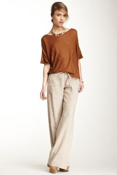 Details about Womens Ann Taylor Loft dark beige pants size 6 wide leg Summer Pants Outfits, Casual Outfits, Fashion Outfits, Shirts & Tops, Linen Pants Outfit, Look Office, Wide Leg Linen Pants, Linen Pants Women, Work Casual