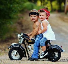This isn't one of my beloved Harleys, it's an Indian motorcycle, but these kids, they're soooo FECKIN' cuuuuute, I just had to pin this!!