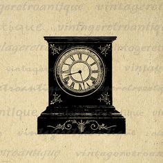 Antique Clock Digital Image Download Printable Graphic Vintage Clip Art. Vintage high resolution digital image clip art. This high quality printable digital illustration is great for printing, fabric transfers, tote bags, papercrafts, and more great uses. Antique artwork. This digital image is high quality, large at 8½ x 11 inches. Transparent background version included with every graphic.
