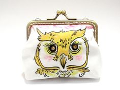 Owl Clasp Purse  Handpainted Animal Art Handmade by PeggyKang, $31.90