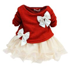 Amazon.com: HOT Casual Baby Girls Knit Top Kids Lace Bow Princess Dress Tulle Skirt 0-3y: Clothing