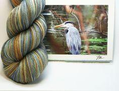 Blue Heron Hand Dyed Fingering (Sock) Yarn, Superwash Merino