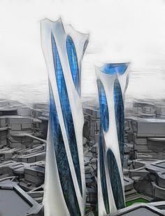 Conceptual architecture 2 by Vladimir Ostangov, via Behance